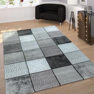 Wohnzimmer-Teppich, Kurzflor Mit 3-D-Effekt Und Muster-Mix, Kariert In Grau