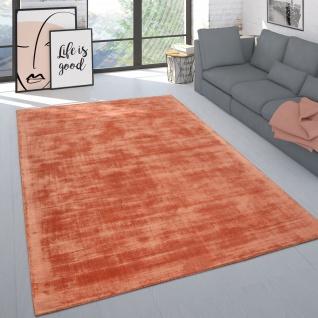 Teppich Handgefertigt Hochwertig Einfarbig Kurzflor Modern Materialmix In Aprico