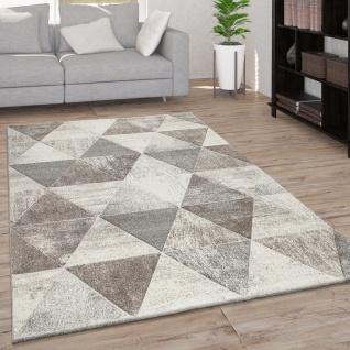 Teppich Wohnzimmer Kurzflor Rauten Muster Geometrisch 3D Modern Creme Beige