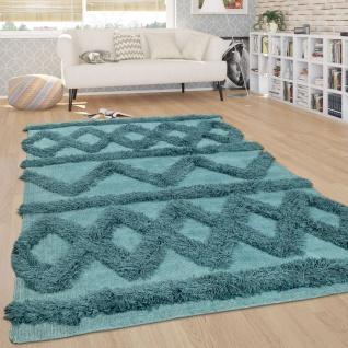Hochflor Teppich, Wohnzimmer Shaggy m. 3D Rauten Muster, Skandinavischer Stil - Vorschau 3