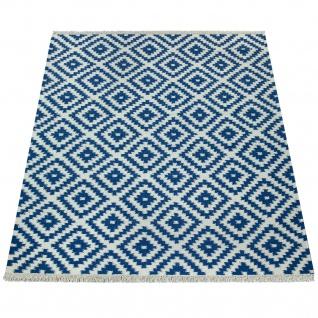 Teppich Modern Marokkanische Muster Handgewebt Skandi Rauten Fransen Blau Weiß - Vorschau 4