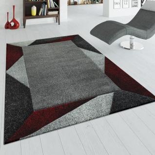 Teppich Wohnzimmer Rot Grau Kurzflor 3-D Effekt Schlafzimmer Dreieck Muster
