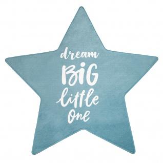 Kinderteppich Teppich Kinderzimmer Spielmatte Stern Schriftzug Blau Weiß