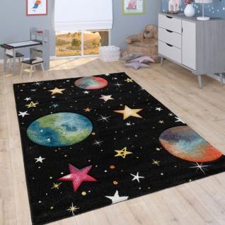 Kinder-Teppich, Spiel-Teppich Für Kinderzimmer Mit Weltall-Motiv, In Schwarz