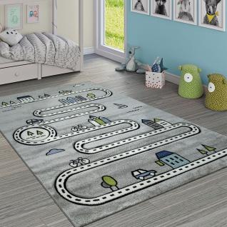 Kinderteppich Kinderzimmer Modern Lernteppich Straße Auto Haus Design In Grau