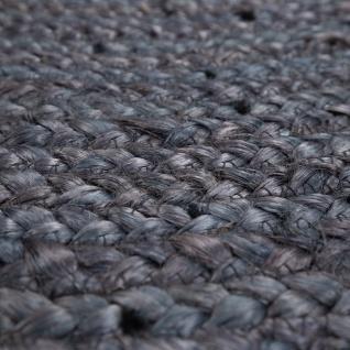 Teppich Rund Wohnzimmer Jute Boho Ethno Handgefertigter Natur-Teppich Grau - Vorschau 3
