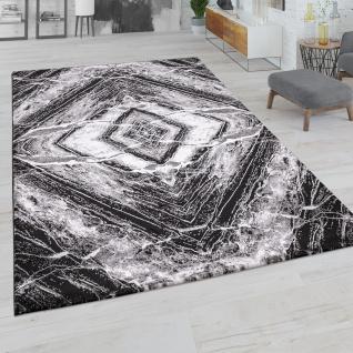 Teppich Wohnzimmer Kurzflor Raute Geometrisches Abstraktes Muster Modern Schwarz