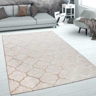 Teppich Wohnzimmer Kurzflor Marokkanisches Muster 3D Effekt Weich Beige Creme