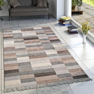 Designer Teppich Wohnzimmer Teppiche Karo Streifen Muster Bedruckt Meliert Braun
