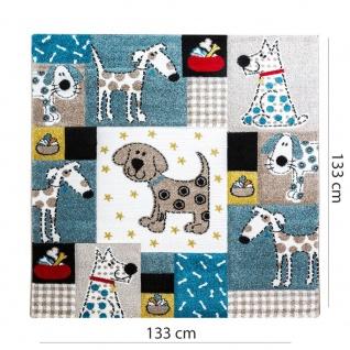Kinderteppich Kinderzimmer Konturenschnitt Hunde Welt Beige Blau Pastellfarben - Vorschau 5