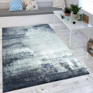 Wohnzimmer-Teppich, Designer-Kurzflor Mit Meliertem Muster, Used-Look In Blau