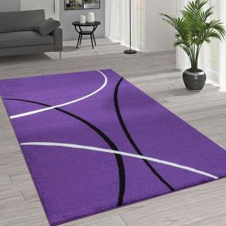 Kurzflor Wohnzimmer Teppich Trendige Moderne Linien Muster In Lila Schwarz Weiß
