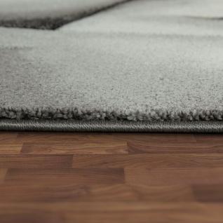 Designer Teppich Mit Konturenschnitt Moderne Abstrakte Muster Grau Rot Meliert - Vorschau 2