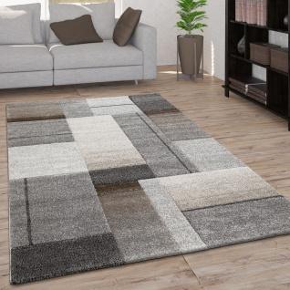 Teppich Wohnzimmer Kurzflor Geometrisches Muster Und Moderner 3D Optik Grau Beige
