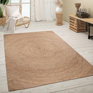 Teppich Wohnzimmer Handgefertigt Naturfaser Abstraktes Natur Muster Modern Beige