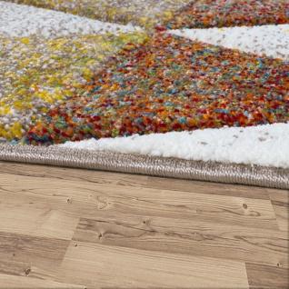 Designer Teppich Bunte Raute Muster Konturenschnitt In Beige Braun Creme Meliert - Vorschau 2