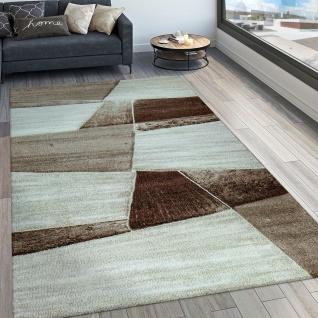 Designer Teppich Modern Konturenschnitt Geometrisches Muster Braun Beige