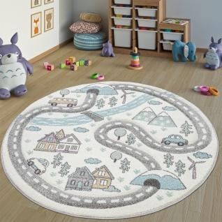 Kinderteppich Kinderzimmer Teppich Rund Kurzflor Straßen Design In Pastell Creme
