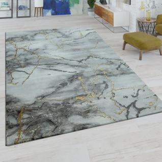 Kurzflor Wohnzimmer Teppich Modern Marmor Design Abstraktes Muster Grau Gold