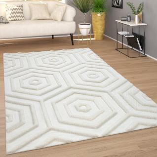 Teppich Wohnzimmer Kurzflor Modernes Boho Muster Geometrisch 3D Effekt Creme