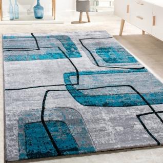 Designer Teppich Konturenschnitt Retro Muster In Grau Schwarz Türkis Meliert