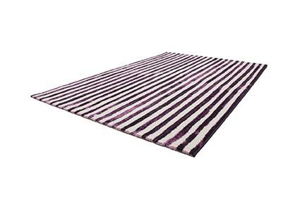 Designer Teppich Modern Gestreift Violett Lila Creme
