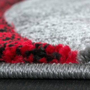 Bettumrandung Teppich mit Konturenschnitt Grau Schwarz Rot Läuferset 3 Tlg - Vorschau 2
