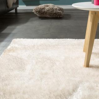 Edler Teppich Shaggy Hochflor Einfarbig Flauschig Glänzend In Weiß - Vorschau 3