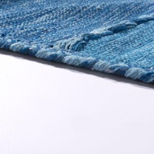 Designer Teppich Webteppich Kelim Handgewebt 100% Baumwolle Modern Gemustert Blau - Vorschau 2
