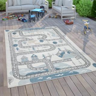 Kinderteppich Kinderzimmer Outdoorteppich Spielteppich Straße Modern Grau Beige