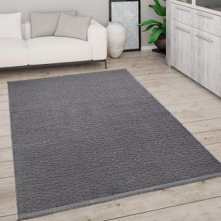 Teppich Wohnzimmer Kurzflor Mit Fransen 3D Effekt Weich Abstraktes Muster Anthracite