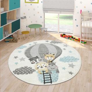 Kinderzimmer Teppich Blau Grau Heißluftballon Wolken Tiere 3-D Design Pastell - Vorschau 3