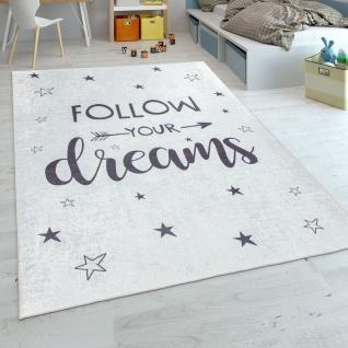 Kinderteppich, Spielteppich Für Kinderzimmer, Mit Spruch-Motiv Und Sternen, Weiß