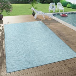 In- & Outdoor-Teppich Für Wohnzimmer, Balkon, Terrasse, Flachgewebe In Blau