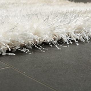 Edler Teppich Shaggy Hochflor Einfarbig Flauschig Glänzend In Weiß - Vorschau 2