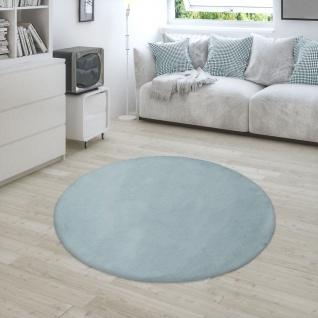 Hochflor Teppich Für Wohnzimmer Softes Kaninchenfell Imitat Kunstfell In Türkis - Vorschau 4