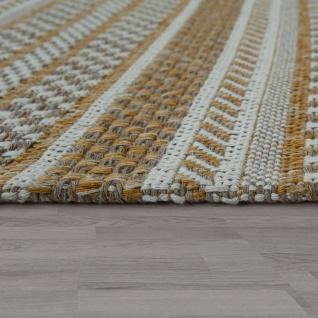 Teppich Beige Küche Wohnzimmer Flur Web Muster Streifen Rustikal Orient Design - Vorschau 2