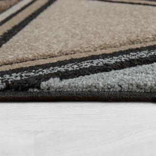Kurzflor Teppich Grau Beige Braun Wohnzimmer 3-D Design Rauten Muster Modern - Vorschau 2