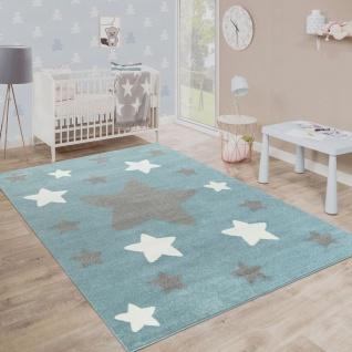 Teppich Kinderzimmer Kinderteppich Große Und Kleine Sterne In Blau Weiß