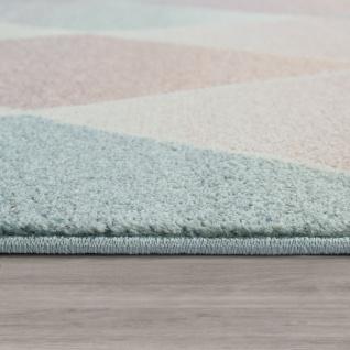 Wohnzimmer Teppich Bunt Retro Design Pastellfarben Rauten Muster Weich Kurzflor - Vorschau 2
