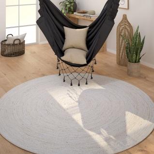Teppich Rund Wohnzimmer Jute Modern Boho Handgefertigt Natur-Teppich Creme Weiß