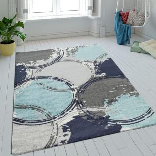 Teppich Wohnzimmer Kurzflor Kreise Batik In Blau Grau Turkis Retro