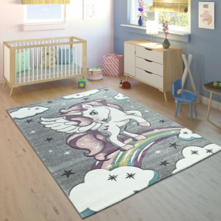 Kinderteppich Bunt Grau Kinderzimmer Regenbogen Design Einhorn Motiv 3-D Look