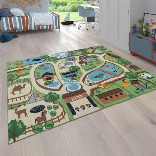 Kinder-Teppich Für Kinderzimmer, Spiel-Teppich, Zoo Mit Tiger, Bär, Löwe, Bunt