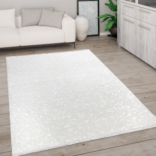 Teppich Wohnzimmer Kurzflor Modern Mit Fransen 3D Effekt Weich Ornamente Creme