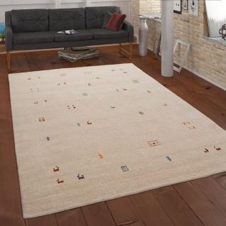 Teppich Creme Beige Bunt Wolle Handgewebt Gabbeh Qualität Ethno Style Robust