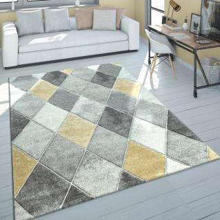 Teppich Wohnzimmer Kurzflor Skandinavischer Stil Rauten Grau Gelb Modern