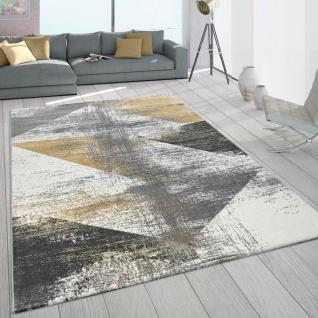 Teppich Wohnzimmer Kurzflor Vintage Design Abstraktes Muster Pastell Gelb Grau