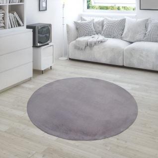 Hochflor Teppich Für Wohnzimmer Softes Kaninchenfell Imitat Kunstfell In Dunkelgrau - Vorschau 4