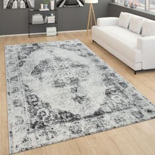 Teppich Für Wohnzimmer, Vintage-Kurzflor Mit Orient-Design, Meliert Grau